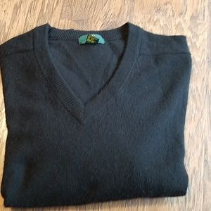 Cashmere black Club room v-neck men's sweater LG